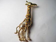 "VintageTall Cloisonne Giraffe Brooch - 3.5"" tall - goldtone"