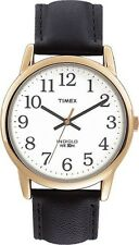 Mens Timex Easy Reader Indiglo Classic Black Leather White Dial Watch T20491
