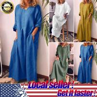 Womens Cotton Linen Casual Summer Fall Loose Long Sleeve Baggy Maxi Dress HOT