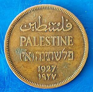 Israel Palestine British Mandate 1 Mil 1927 Bronze Coin XF