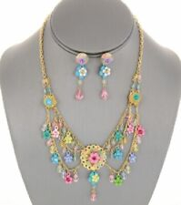 Flower and Crystal Charm Bib Necklace Set