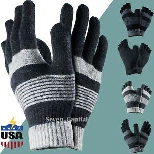 Mens Women Winter Warm Knitted Magic Fingerless Half Finger Gloves Mitten Strech