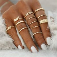 12 Rings Boho Knuckle Set Fashion Gold Heart Love Diamond Thumb Stack Jewelry