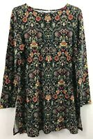 NEW J.JILL M L XL Tunic Knit Top Side Slits Pima Cotton Blend Floral Green Black