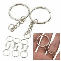 50Pc Keyring Blanks 55mm Keychain Travel Buckle Key Fob 4 Link Chain Split Rings