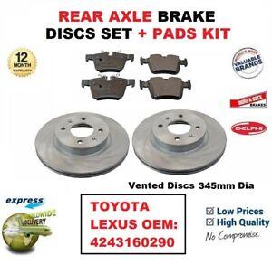 FOR TOYOTA LEXUS OEM: 4243160290 REAR AXLE BRAKE PADS + DISCS SET (345mm Dia)