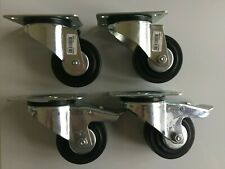 More details for 4pcs set swivel & braked castors, 80mm rubber tread roller bearing wheels