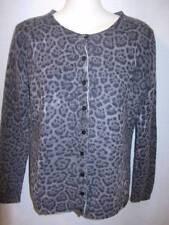 Holt Renfrew 100% Cashmere Gray Animal Print Crew Neck Cardigan PS