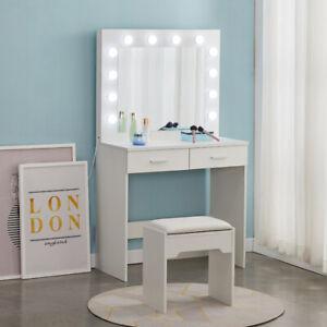 White Modern Dressing Table with LED Lights Mirror Vanity Make up Desk Stool Set