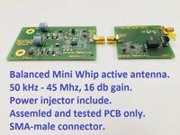 Mini whip active antenna VLF, LW, SW, HF for RTL SDR, Degen, Tecsun, Sony.