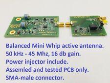 Fully balanced mini whip antenna VLF, LW, SW for RTL SDR, Degen, Tecsun, Sony.