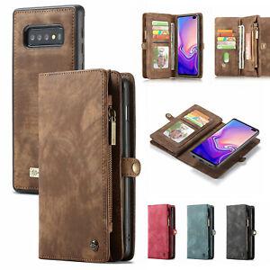For Samsung S20Plus S10 S7 S8 S9+ Note 8/9 Leather Zipper Detachable Wallet Case