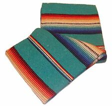 #776 New Blanket Throw Sarape Bed Cover Teal Mexico Beach Yoga Mat Travel 5'x7'