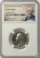 1776 - 1976 S NGC PF69 CAMEO PROOF SILVER WASHINGTON QUARTER  25c BICENTENNIAL
