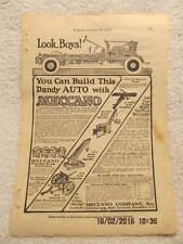 1917 Magazine Ad Meccano Model Toys Army Plane, Crane, Steam Shovel, Car, Cannon