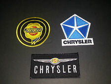 SET OF THREE MOTOR RACING SEW/IRON ON PATCHES:- CHRYSLER