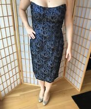 8sz Chris Benz metallic blue abstract print strapless cocktail party dress
