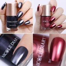 2pcs 9ml Metallic Nail Polish Mirror Effect Red Shiny Varnish Nail NICOLE DIARY