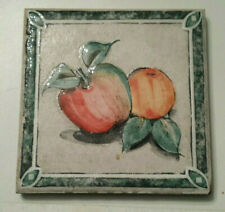 "Handpainted Ceramic Tile Trivet Peach & Apple design 5 3/4"" square"