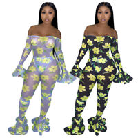 Women Floral Printed Off Shoulder Long Flare Sleeves Bodycon Club Party Jumpsuit