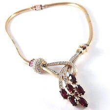 "Signed (Pegasus) CORO CRAFT Vintage 15"" Necklace Ruby Marquise Rhinestone BN1"