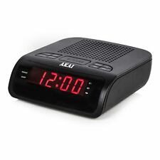 BLACK 0.6 INCH AKAI CLOCK RADIO WITH LED DISPALY SNOOZE SLEEP ALARM AM/FM MAINS
