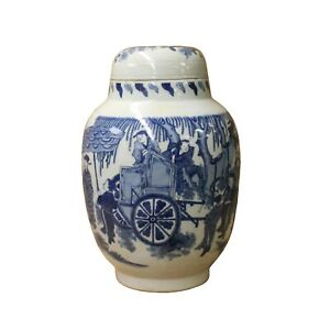 Chinese Blue White Round Porcelain People Graphic Accent Jar ws1104