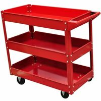 obile Workshop Garage Tool Chest Cabinet Rolling Trolley Cart Storage 3 Shelves