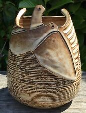 Vintage Retro Signed Greek Studio Pottery Vase With Dove Bird Decoration