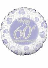 "18"" Foil Silver Wedding Anniversary Balloon 60th Party Post Diamond"