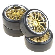 4PCS Hard Tires Tyres + Plastic Gold 12-Spoke Wheel Rims for RC 1:10 Drift Car