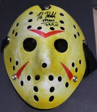 WHITE/YELLOW FRIDAY THE 13TH JASON VOORHEES MASK - SIGNED BY KANE HODDER W/COA