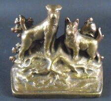 Antique Solid Bronze Door Stop Depicts Two Hunting Dogs Standing on Tree Roots
