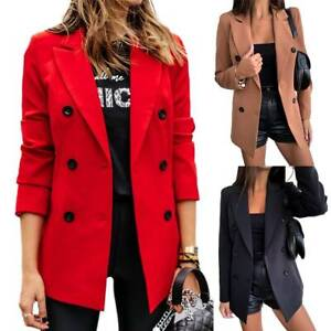 Womens Casual Formal Double Breasted Slim Fit Blazer Coat OL Office Work Jackets