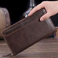 Large Capacity Men's Genuine Leather Wallet Card Case Checkbook Clutch Handbag