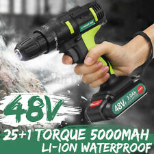 48VF Cordless Drill Impact Electric Driver Screwdriver LED Light+Li-Ion Battery