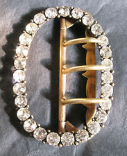 PERFECT VICTORIAN BRASS & PASTE OVAL BUCKLE 5.5 CMS TALL