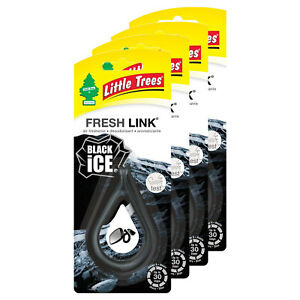 Little Trees Fresh Link Air Freshener, 4-PACK (Black Ice)