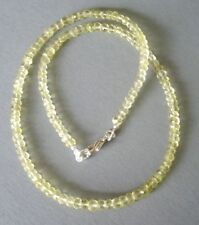 Lemon Citrin Kette, 925er Silber Schloss - 45 cm - 65 Karat - Lemon Quartz