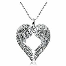 Angel Wing Love Heart Pendant Charms Silver Statement Necklace