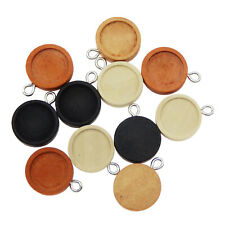 24pcs/pack Mixed Wood 12mm Round Bezel Setting Charms Pendant DIY Findings 54309