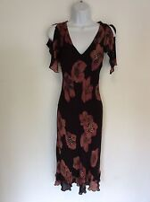 NOUGAT BROWN FLORAL PRINT SILK SPECIAL OCCASION DRESS SIZE 1 UK 8