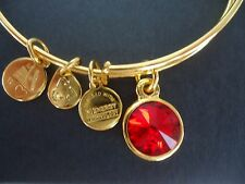 Alex and Ani JULY Birthstone RUBY Yellow Gold Charm Bangle W/ Tag Card & Box