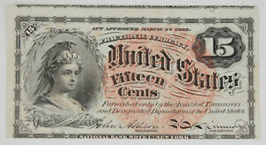 1869-1875 Fractional 15 Cent Currency Note 4th Issue UNC Fr-1267 w/Watermark