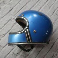 Vintage 70s Full Face Motorcycle Helmet Brillant Blue Size Small / Medium Grant