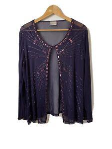 Roman Originals Size L Top Cardigan Shrug Purple Beaded Net Party Occasion