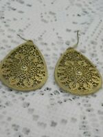 Vintage Drop Dangle Earrings Gold Tone Filigree White Rhinestone Teardrop