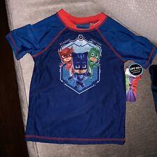 Toddler Boys Blue PJ Masks Rash Guard Swim Shirt 5T