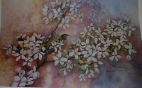 """The First Robin by Marge Brandt, Limited Edition 18"""" x 28 1/4"""", dogwood"""