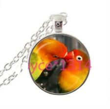 """Colorful glass Pendant charm female Silver 20"""" necklace Parakeet Bird Lovers"""